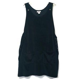 Vintage Black Velour Jumper Dress Size 2X Pockets